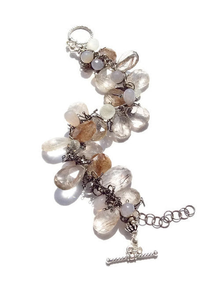 Golden Rutilated Quartz Oxidized Fringe Bracelet - Van Der Muffin's Jewels - 4
