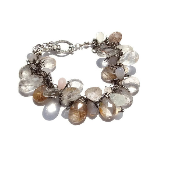 Golden Rutilated Quartz Oxidized Fringe Bracelet - Van Der Muffin's Jewels - 1