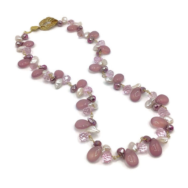 Blush Lilac Multi Gemstone Necklace | 14K Gold Fill