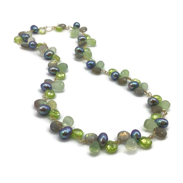 Peridot Green Multi Gemstone Necklace | 14K Gold Fill