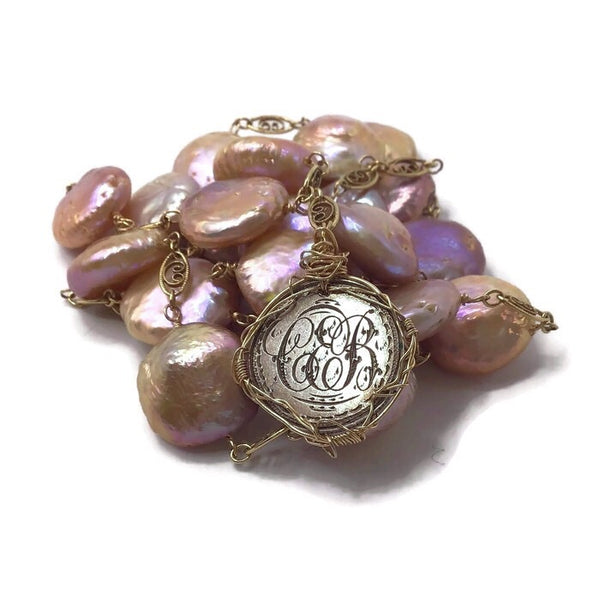 SOLD | 1890 Antique Love Token Coin Pearl Necklace