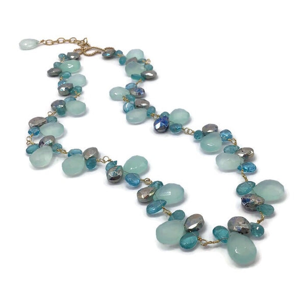 Aqua Chalcedony Gemstone Necklace | 14K Gold Fill