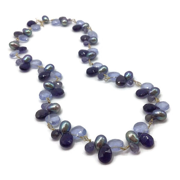 Lilac Multi Gemstone Cluster Necklace