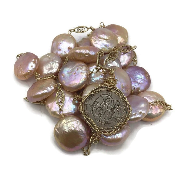 c. 1890 Antique Love Token Coin Pearl Necklace