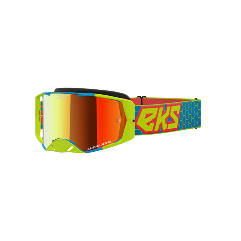 Lucid Goggle Flo Yellow, Cyan & Fire Red - Red Mirror