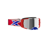 Lucid Goggle Red, White, & Metallic Blue - Silver Mirror