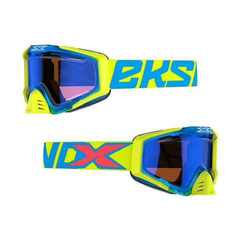 Flo Yellow/Cyan/Fire Red • Blue Mirror Vented Dual Pane