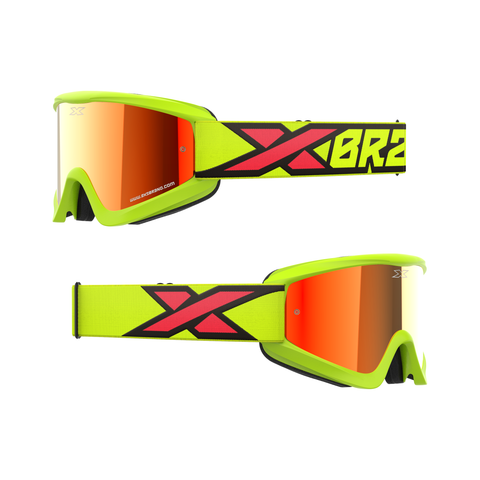 GOX Flat-Out Mirror Goggle Flo Yellow, Black, & Fire Red