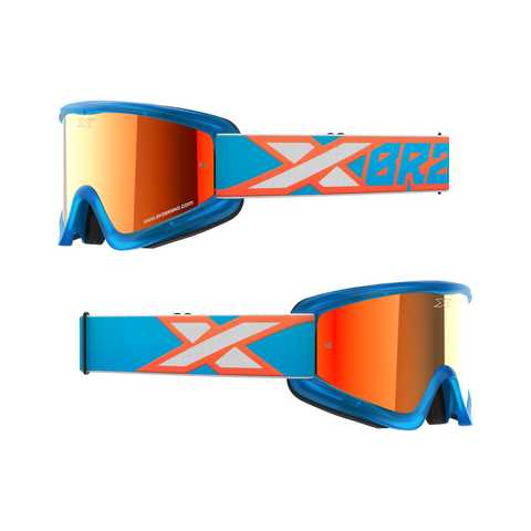 GOX Flat-Out Mirror Goggle Liquid Cyan, Flo Orange & White