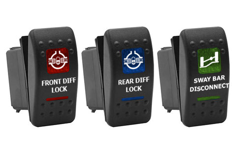 Custom Dual LED Rocker Switch , Choose Graphics , RED, BLUE or GREEN