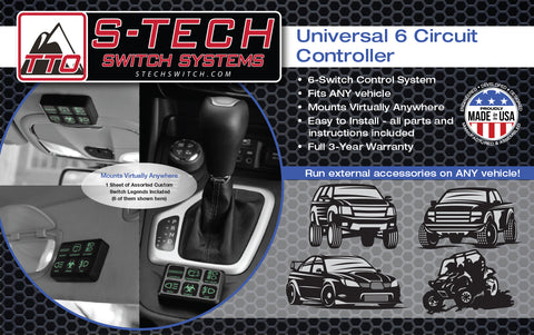 S-TECH   Universal 6 circuit Switch System Six 30A circuits, 6 switch LED POD custom Plug/Play harness </br> #TTO-STECH-UN <br>
