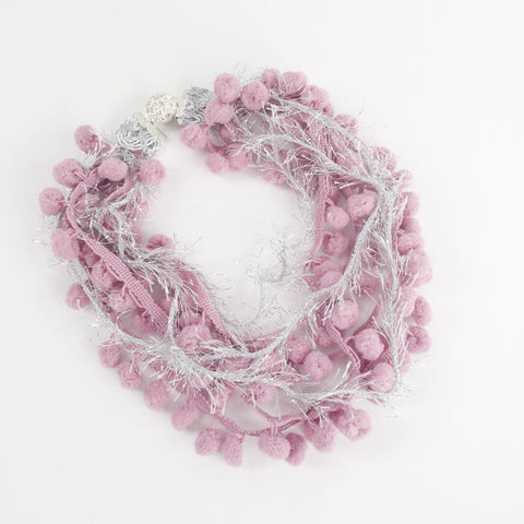 Mauve Pom Pom Pearl Necklace