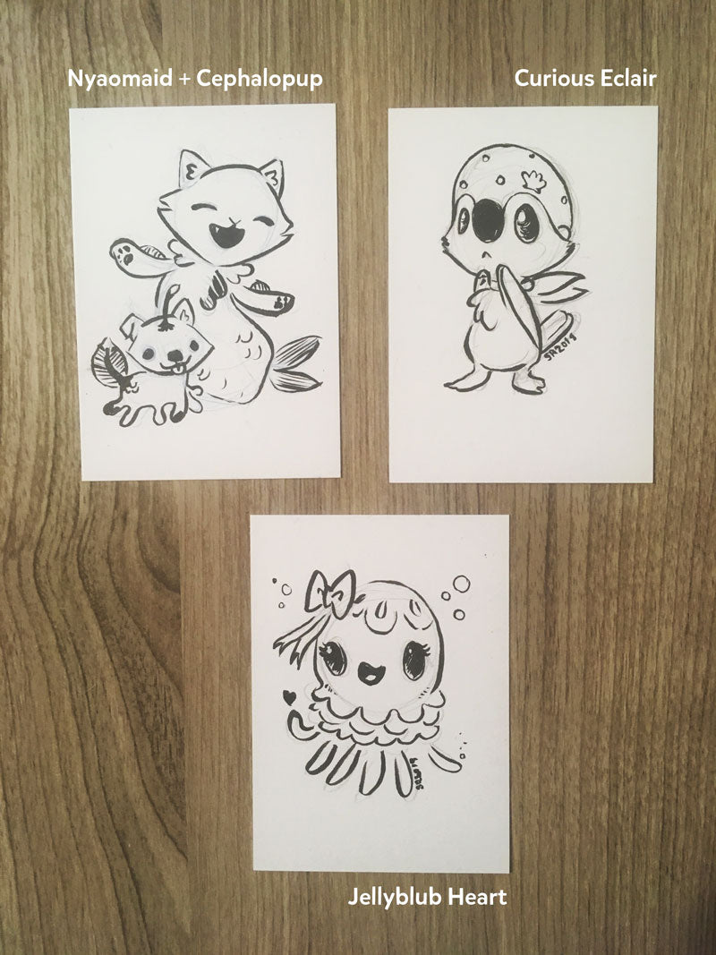 Summer 2018 ACEO drawings - ink on bristol
