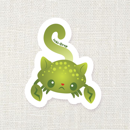 Lime Cat Crab Sticker