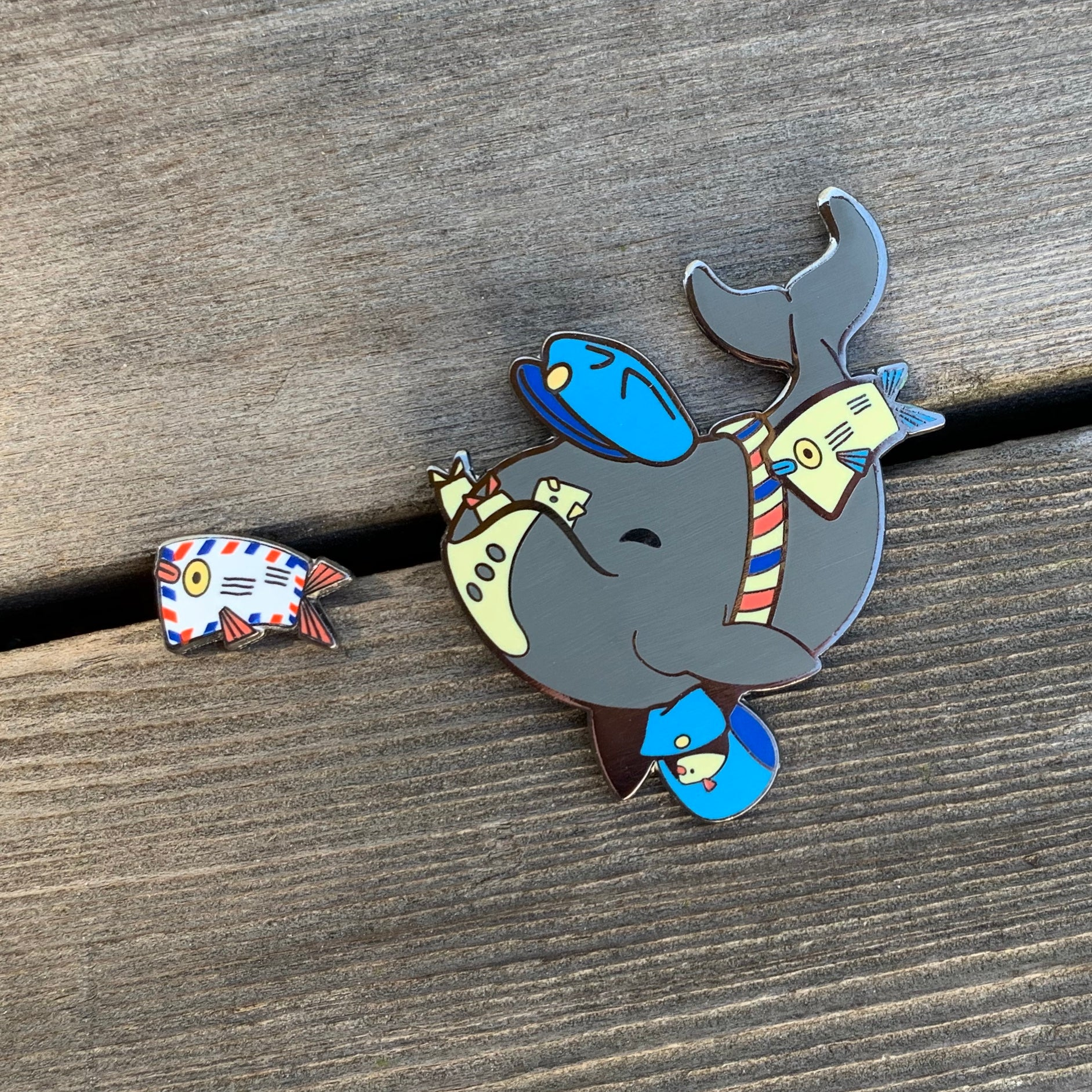 Mail Whale Pin Set