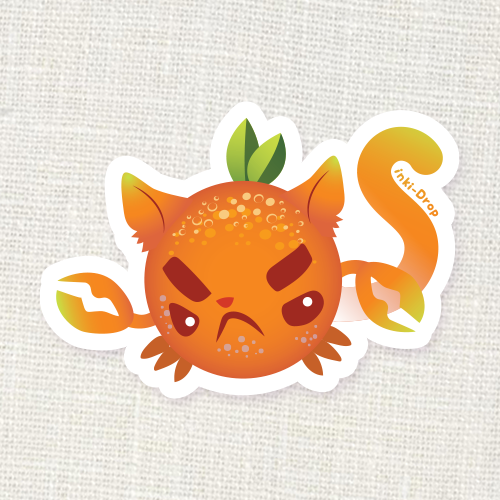 Orange Crabcat Sticker