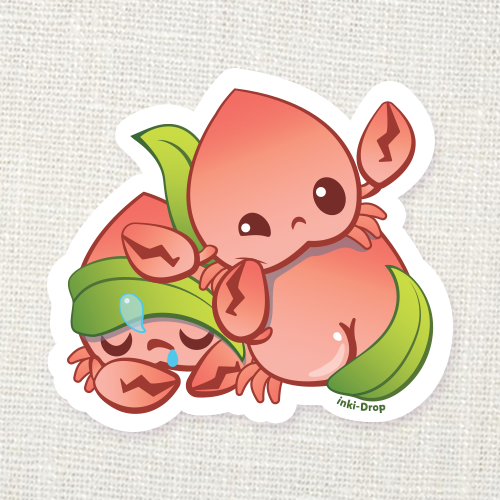 Peach Crab Pile Sticker