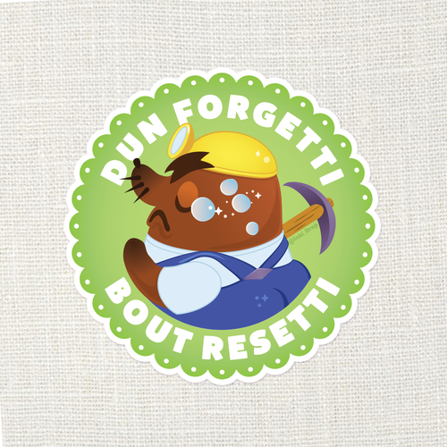 Dun Forgetti Resett Animal Crossing Sticker