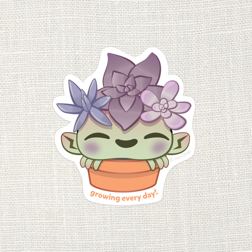 """Growing Every Day!"" SuccuCrab Sticker"