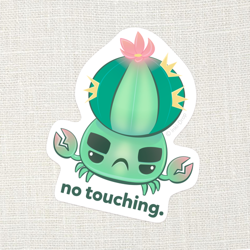 """No Touching"" SuccuCrab Sticker"