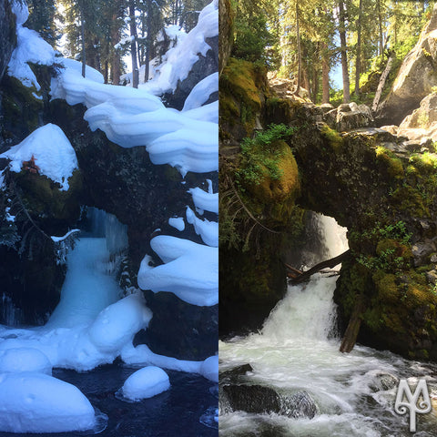 Winter / Summer at Arch Falls, Hyalite Creek Trail, Bozeman, Montana