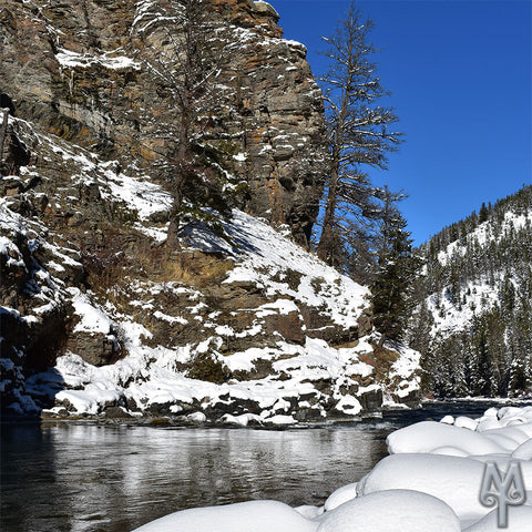 Winter On The Gallatin River, near Goose Creek, Big Sky, Montana