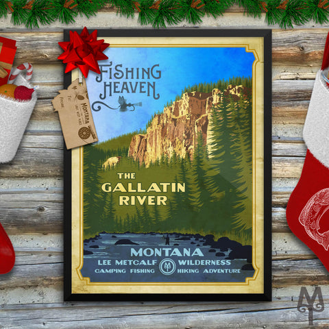 A Vintage Gallatin River Fishing Heaven Poster by Montana Treasures