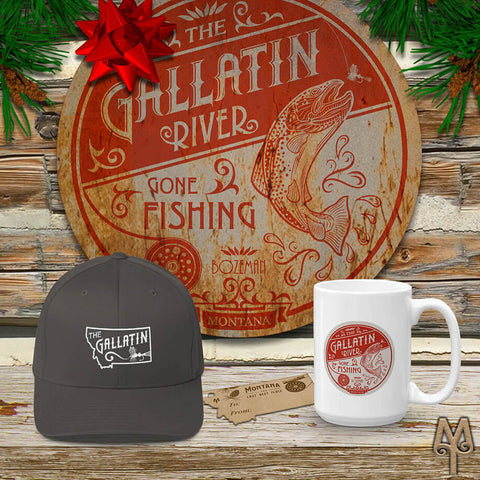Gallatin River themed fly fishing apparel and cabin decor by Montana Treasures