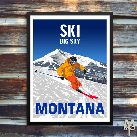 Ski Big Sky, Montana, framed poster by Montana Treasures