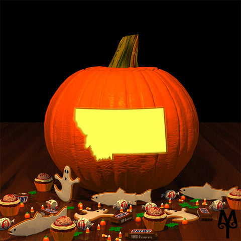 State Of Montana Halloween Jack-O-Lantern, stencil by Montana Treasures