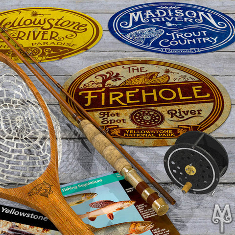 Vintage Fly Fishing Wall Signs by Montana Treasures