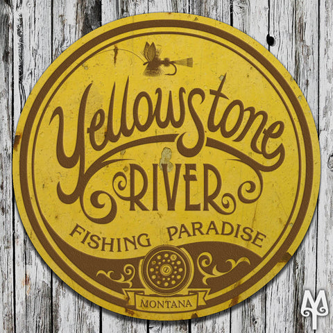 Vintage Yellowstone River Fishing Paradise home decor sign by Montana Treasures