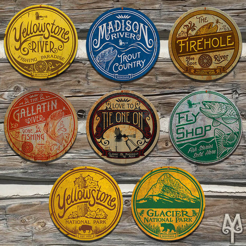 Vintage Fly Fishing and National Parks Wall Signs by Montana Treasures