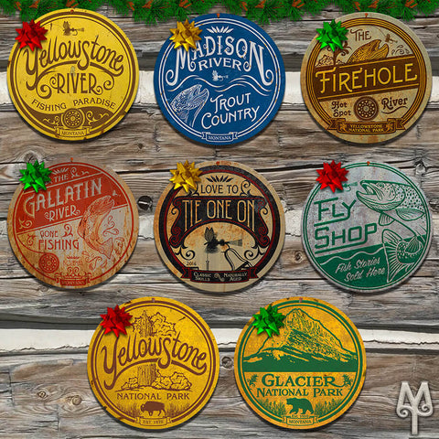 Fly Fishing and National Parks wall signs by Montana Treasures