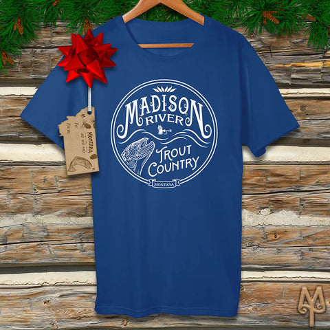 A Madison River Trout Country white logo t-shirt by Montana Treasures. Shop now!