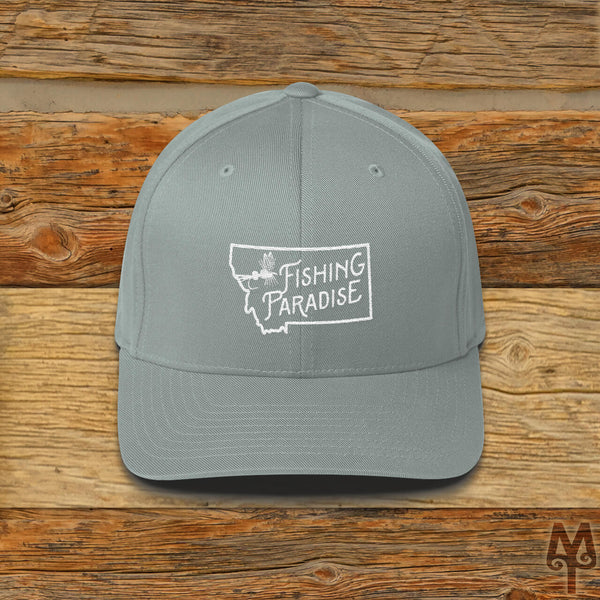 Montana Fishing Paradise, Fly Fishing Ball Cap, Grey