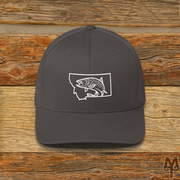 Montana Brown Trout, Fly Fishing Ball Cap, Dark Grey