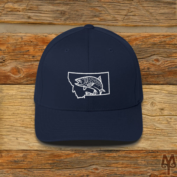 Montana Brown Trout, Fly Fishing Ball Cap, Dark Navy