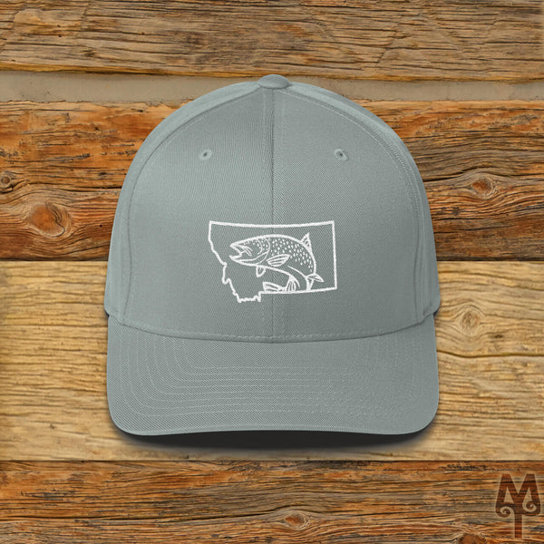 Montana Brown Trout, Fly Fishing Ball Cap, Grey