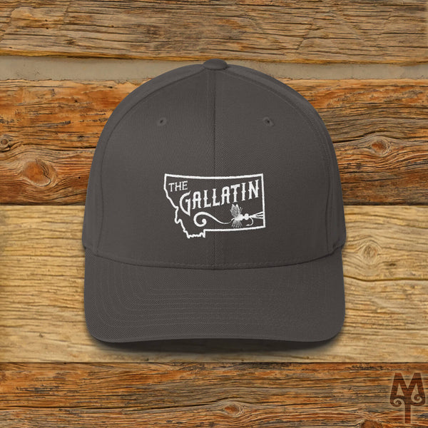 Gallatin River, Fly Fishing Ball Cap, Dark Grey