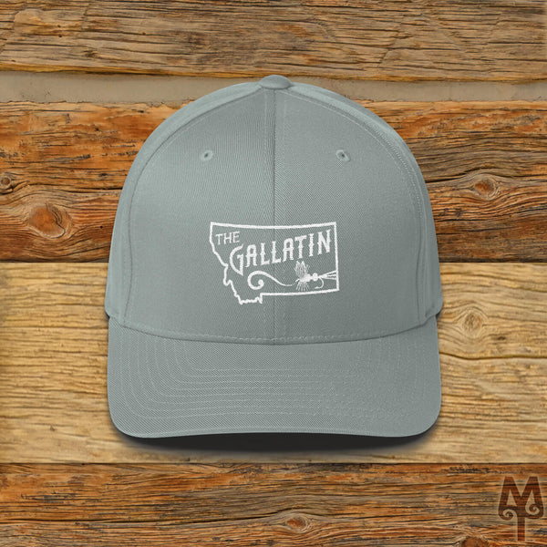 Gallatin River, Fly Fishing Ball Cap, Grey