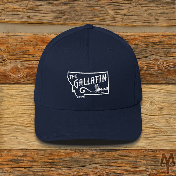 Gallatin River, Fly Fishing Ball Cap, Dark Navy
