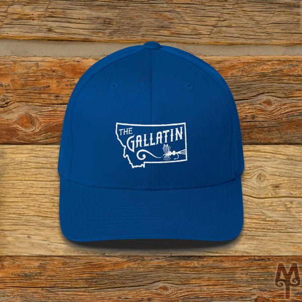 Gallatin River, Fly Fishing Ball Cap, Royal Blue