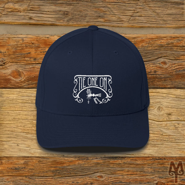 Tie One On, Fly Tying Ball Cap, Dark Navy