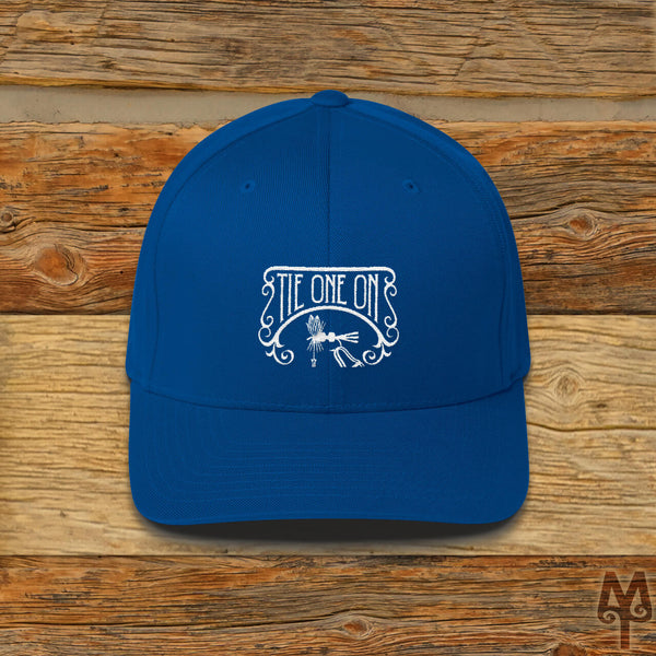 Tie One On, Fly Tying Ball Cap, Royal Blue