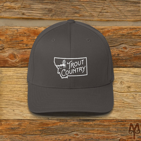 Montana Trout Country, Fly Fishing Ball Cap, Dark Grey