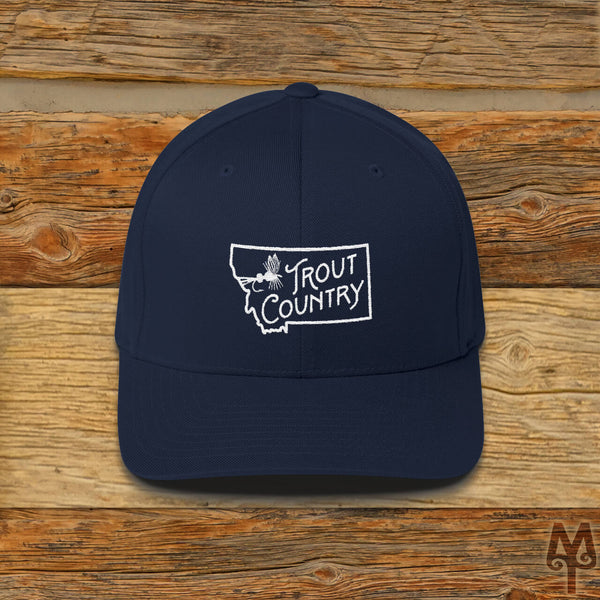 Montana Trout Country, Fly Fishing Ball Cap, Dark Navy