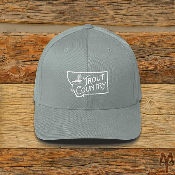 Montana Trout Country, Fly Fishing Ball Cap, Grey