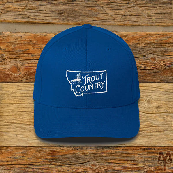 Montana Trout Country, Fly Fishing Ball Cap, Royal Blue