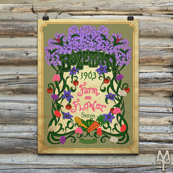 Vintage Bozeman Farm And Flower, unframed poster